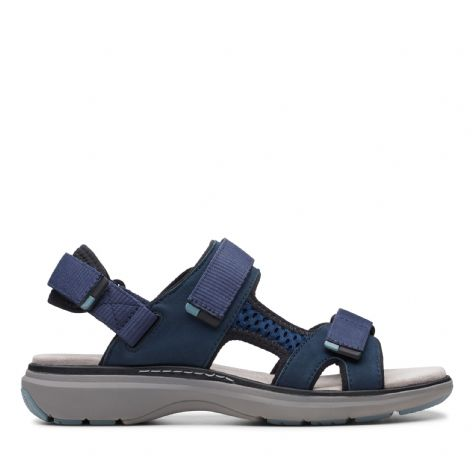 Clarks Womens Un Roam Step Navy Nubuck Sandals